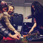 Art majors at the University of Rhode Island collaborating on an improvisatory piece with electronics.